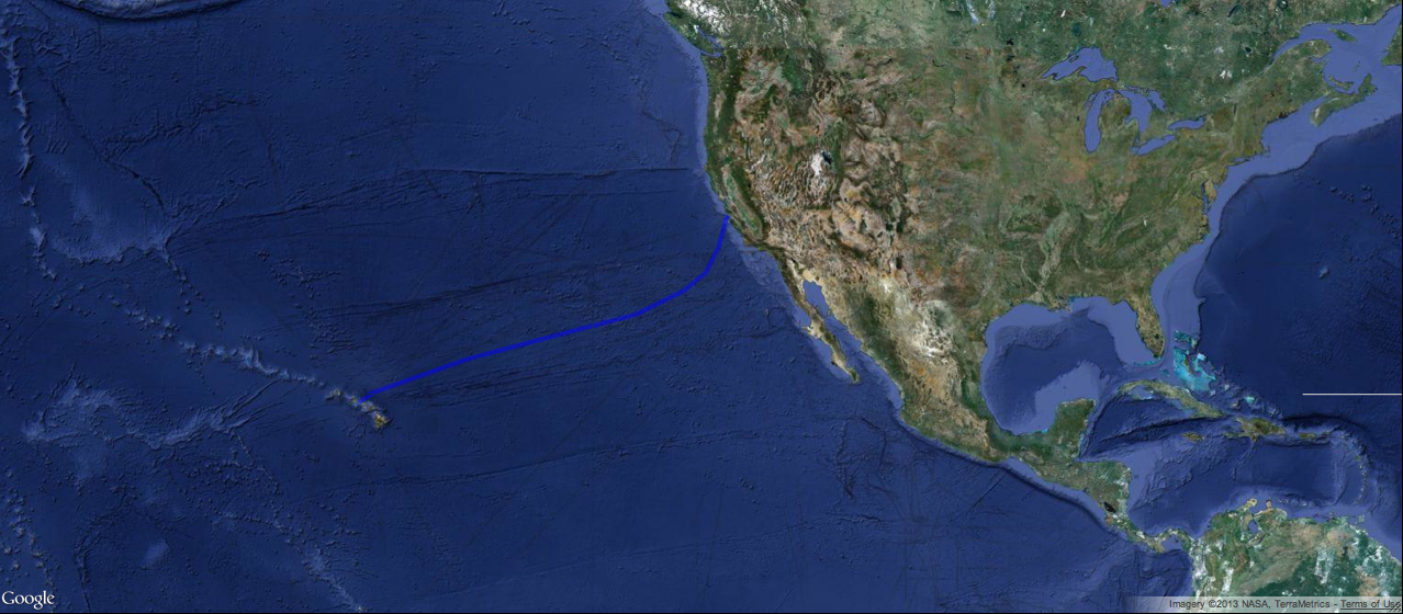how far is it from california to hawaii