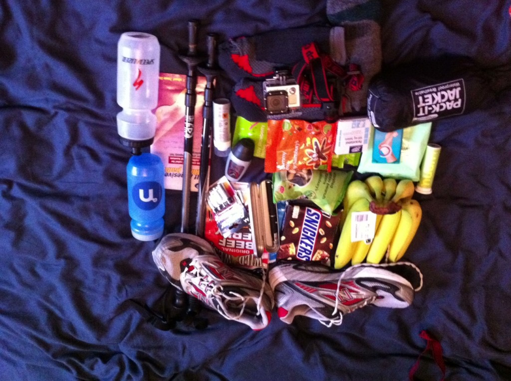 8 Bananas, 8 chocolate bars, pack of beef jerky, 3 packs of sugary sweets, tube of hydration tabs, 2 water bottles, paracetamol, anti blister spray, blister plasters, 4 changes of socks, adhesive padding, nut and raisin mix, head torch, walking poles, batteries, laser pointer, rain jacket, running shoes (which I decided to leave behind), camera