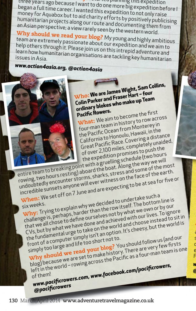 Team Pacific Rowers in Adventure Travel Magazine