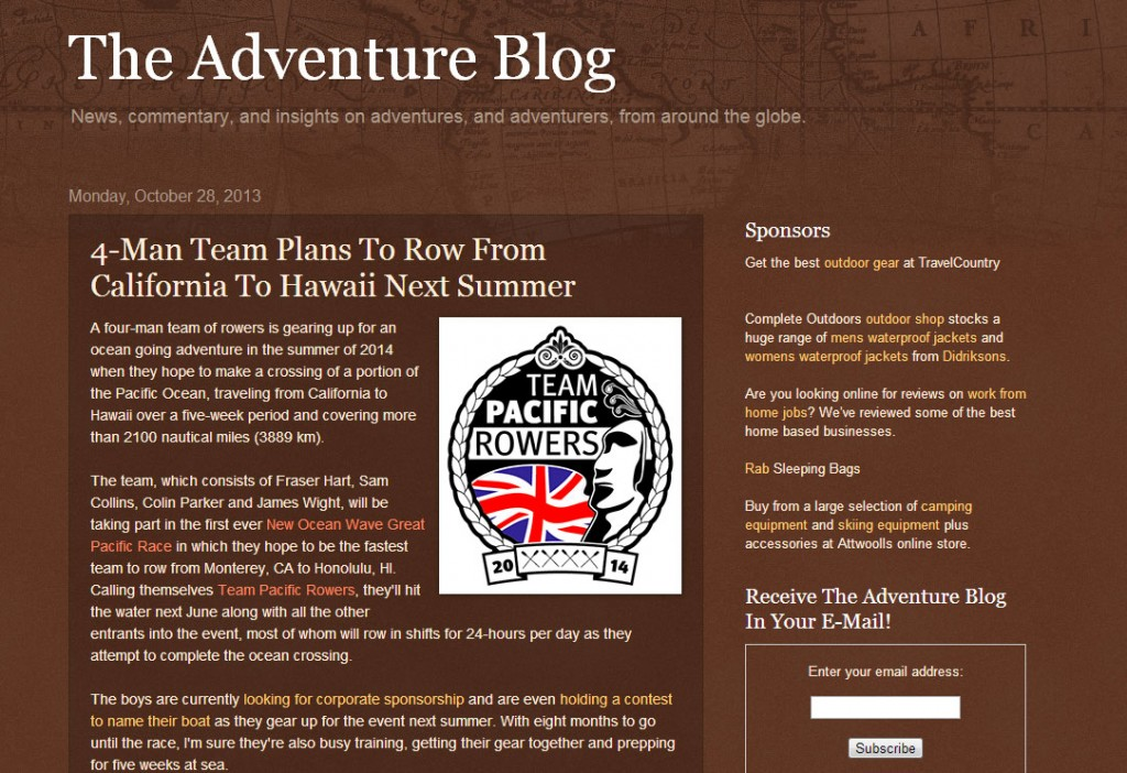 Team Pacific Rowers in the Adventure Blog