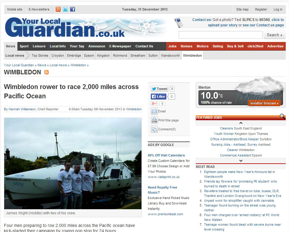 Team Pacific Rowers in Your Local Guardian