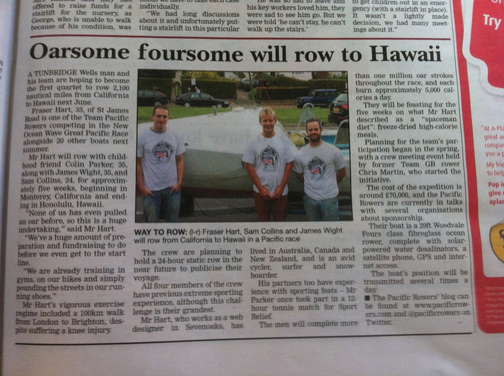 Team Pacific Rowers in the Kent and Sussex Courier