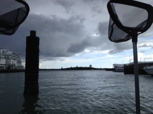 Weather moves across Waitemata Harbour.